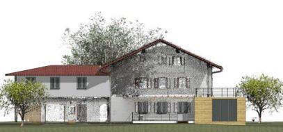15-038_Haus Christian Umbau - Ansicht - Ansicht SÜD Neubau_600px